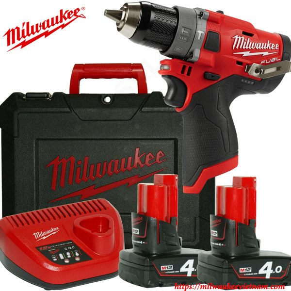Máy khoan động lực dùng pin Milwaukee M12 FPD-402C SET 2 pin 1 sạc