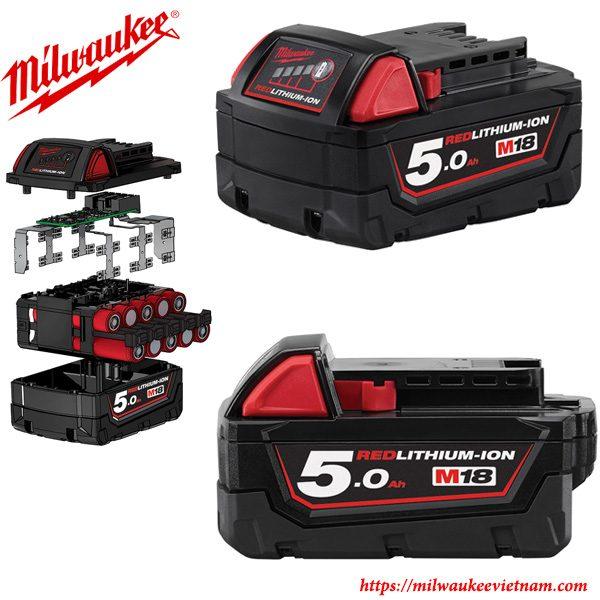 Pin M18 18V 5.0Ah Milwaukee chính hãng cung cấp nguồn năng lượng mạnh mẽ