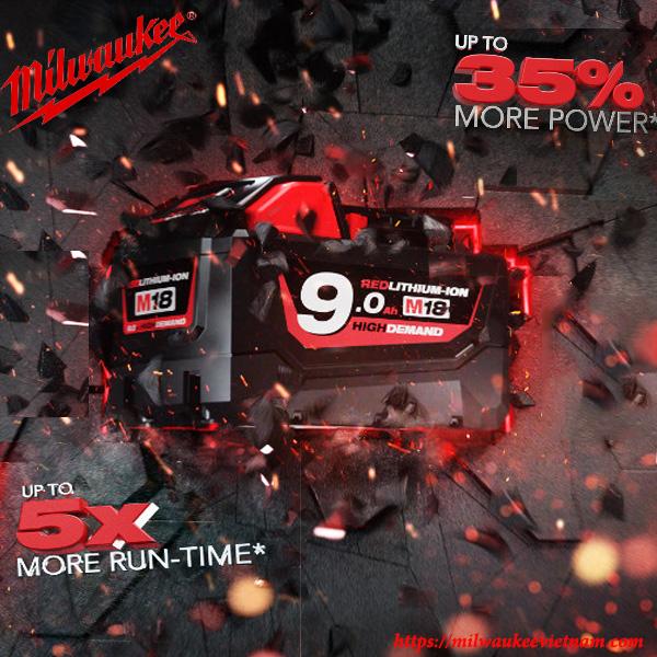 Pin 18V 9.0Ah REDLITHIUM-ION ™ Milwaukee chính hãng cho hiệu năng vượt trội