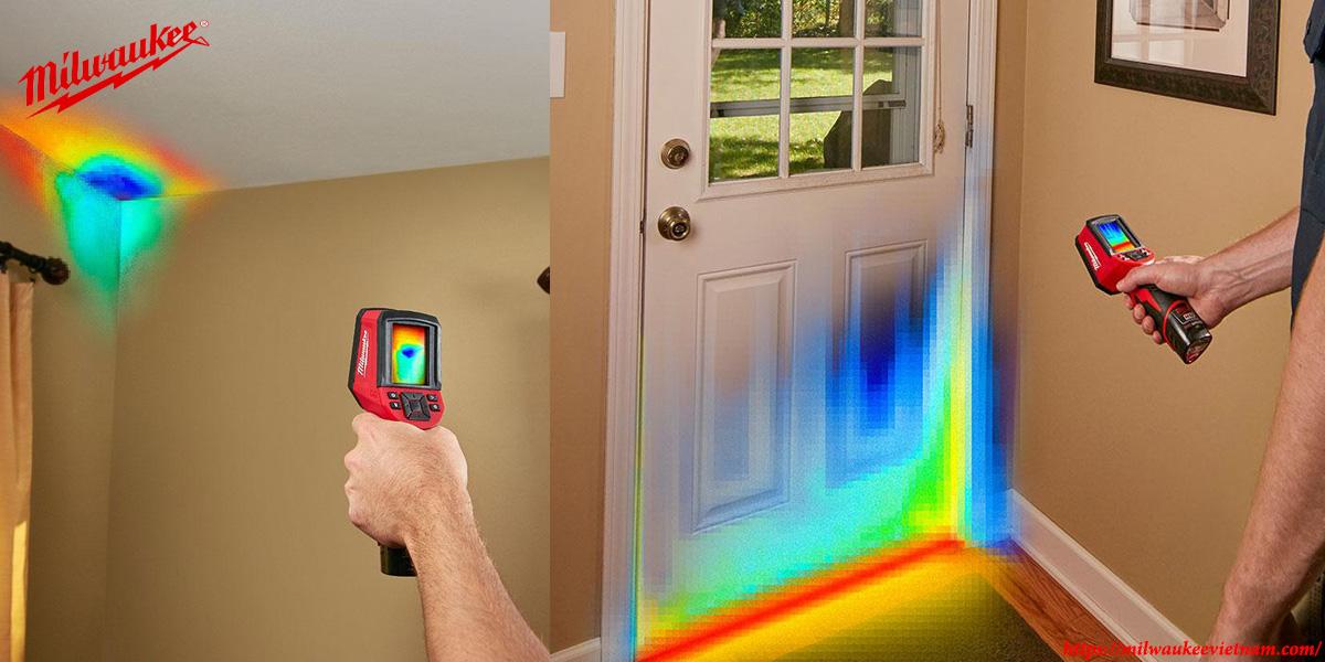 Hình ảnh thự hiện đo nhiệt độ trong nhà với máy Milwaukee M12 TD
